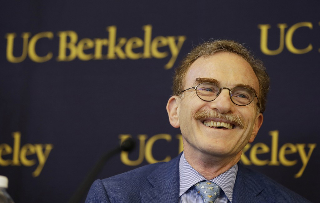 Randy Schekman, professor at the University of California, Berkeley, smiles while talking about winning the Nobel Prize in medicine during a news conference Monday, Oct. 7, 2013, in Berkeley, Calif. Two Americans and a German-American won the Nobel Prize in medicine Monday for discovering how key substances are transported within cells, a process involved in such important activities as brain cell communication and the release of insulin. James Rothman, 62, of Yale University, Randy Schekman, 64, of the University of California, Berkeley, and Dr. Thomas Sudhof, 57, of Stanford University shared the $1.2 million prize. (AP Photo/Eric Risberg)